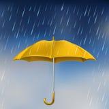 Gele paraplu in regen stock illustratie