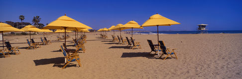Gele paraplu's en ligstoelen Royalty-vrije Stock Afbeelding