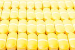 Gele Pillenclose-up Stock Fotografie