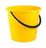 Gele plastic emmer Stock Foto's
