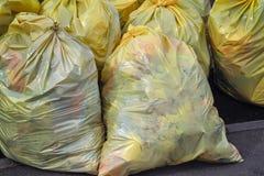 Gele plastic vuilniszakken Rekupereerbaar huisvuil die uit glas, plastiek, metaal en document bij zijweg in grote stad bestaan royalty-vrije stock afbeelding