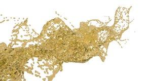 Gele plons grote morsende vloeistof in langzame motie Gekleurd water vector illustratie