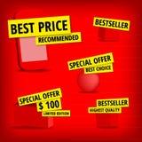 Gele productstickers Royalty-vrije Stock Afbeeldingen