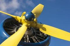 Gele propeller van een vliegtuig Royalty-vrije Stock Foto