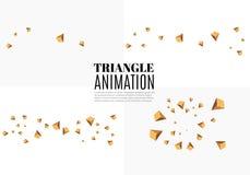 Gele realistische driehoeken en gouden lichteffecten de groene bladeren van 3d effect… installatie motie van vliegende driehoeken Royalty-vrije Stock Afbeeldingen
