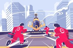 Gele reddingshelikopter en team vlakke affiche stock illustratie