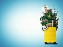 Gele reiszak met wereldoriëntatiepunt stock illustratie
