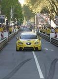 Gele reizende raceauto Royalty-vrije Stock Afbeelding