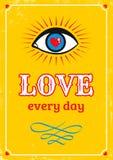 Gele retro affiche voor de dag van Valentine Stock Afbeelding