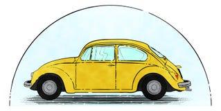 Gele retro auto stock afbeeldingen