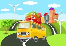 Gele retro stijl Minibus op de weg, stock illustratie