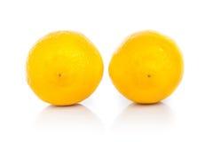 Gele rijpe die citroen op een wit wordt geïsoleerd Royalty-vrije Stock Afbeeldingen