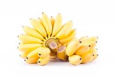 Gele rijpe gouden bananen op wit geïsoleerd fruitvoedsel het achtergrond gezond van Pisang Mas Banana Stock Foto's