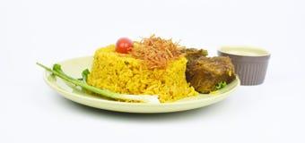 Gele rijst met rundvlees Royalty-vrije Stock Afbeeldingen