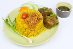 Gele rijst met rundvlees Stock Afbeelding