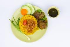 Gele rijst met rundvlees Stock Afbeeldingen