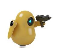 Gele robot met pistool Royalty-vrije Stock Afbeeldingen