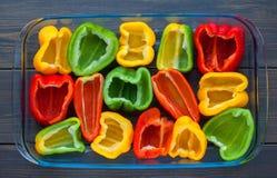 Gele, rode en groene groene paprika Royalty-vrije Stock Foto