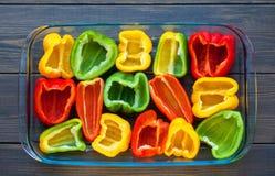 Gele, rode en groene groene paprika Royalty-vrije Stock Fotografie