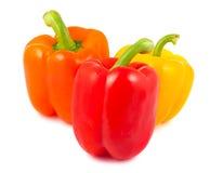 Gele, rode en oranje peper Stock Afbeeldingen