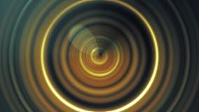 Gele, rode, en zwarte correcte golven, pulserende dans van cirkels en lichten, naadloze lijn Abstracte animatie van golven royalty-vrije stock afbeeldingen