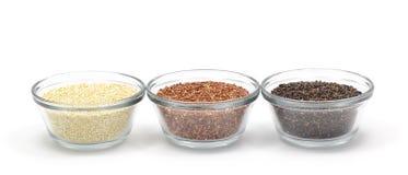 Gele, Rode, en Zwarte Quinoa Royalty-vrije Stock Foto