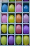 Gele, rode, purpere, blauwe opblaasbare die ballons door sectoren worden gescheiden stock foto's