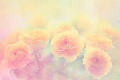Gele rozen op waterverfachtergrond royalty-vrije illustratie