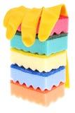Gele rubberhandschoen. Royalty-vrije Stock Afbeeldingen