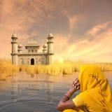 Gele saree Royalty-vrije Stock Fotografie