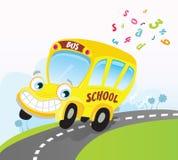 Gele schoolbus op weg stock illustratie