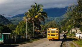 Gele schoolbus in tropisch Honduras Stock Afbeeldingen