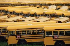 Gele schoolbussen Stock Foto's