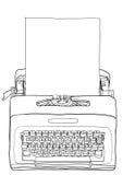 Gele Schrijfmachine Uitstekende Draagbare Handschrijfmachine met blan Royalty-vrije Stock Afbeelding