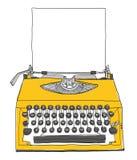 Gele Schrijfmachinewijnoogst met document Royalty-vrije Stock Foto's