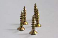 Gele schroeven voor hout Royalty-vrije Stock Foto
