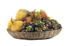 Gele sentol, Mangostan, Rambutan stock afbeeldingen