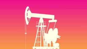 Gele shilluette van de oliepomp Olieproductie stock illustratie