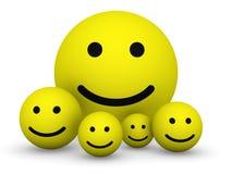 Gele smileyballen Stock Foto