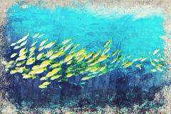 Gele Snapper Marine Life-koraalrif onderwater Digitale Kunst I vector illustratie