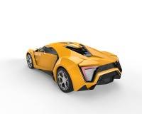 Gele sportscar - hoogste achtermening Royalty-vrije Stock Fotografie