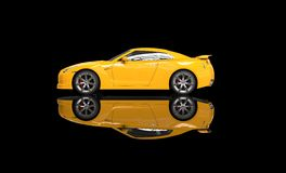 Gele Sportwagen op Zwarte Achtergrond Stock Foto