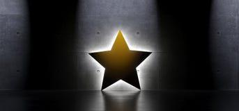Gele Ster in Binnenland met Zacht Licht Royalty-vrije Stock Foto's