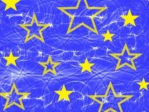 Gele ster op de abstracte blauwe achtergrond van de tekeningstextuur stock illustratie