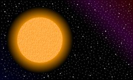 Gele ster in ruimte stock fotografie