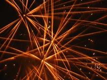Gele sterren van vuurwerk Royalty-vrije Stock Afbeeldingen