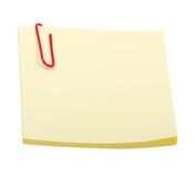 Gele stickernota met klem die op wit wordt geïsoleerdr Royalty-vrije Stock Fotografie