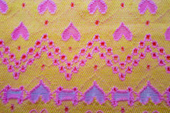 Gele stof met harten Stock Afbeeldingen