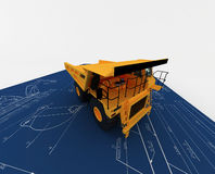 Gele Stortplaats en blauwe schets Royalty-vrije Stock Fotografie