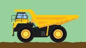 Gele stortplaatsvrachtwagen geïsoleerd met groot wiel en vuil Royalty-vrije Stock Afbeelding
